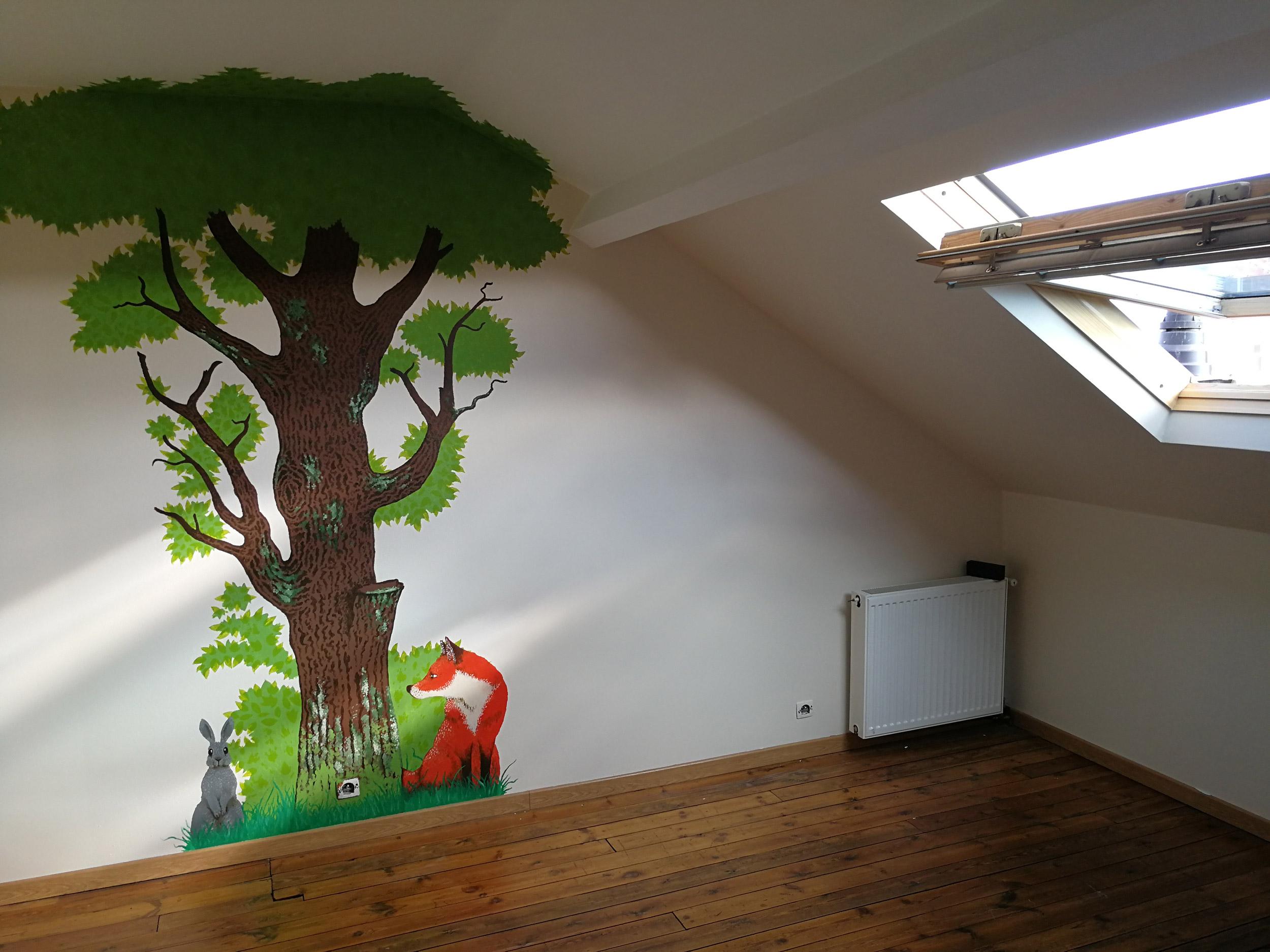 faire une fresque pour une chambre d 39 enfant foxgraph. Black Bedroom Furniture Sets. Home Design Ideas